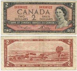 1954 - PORTRAIT MODIFIE -  2 DOLLARS 1954, LAWSON/BOUEY (F)