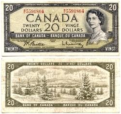 1954 - PORTRAIT MODIFIE -  20 DOLLARS 1954, BEATTIE/COYNE (VG)