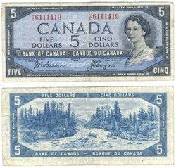 1954 - PORTRAIT MODIFIE -  5 DOLLARS 1954, BEATTIE/COYNE (F)