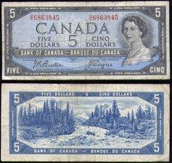 1954 - PORTRAIT MODIFIE -  5 DOLLARS 1954, BEATTIE/COYNE (VG)