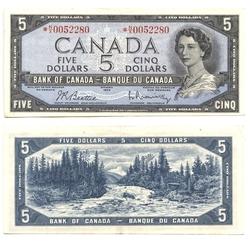 1954 - PORTRAIT MODIFIE -  5 DOLLARS 1954, BEATTIE/RASMINSKY (EF)