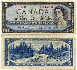 1954 - PORTRAIT MODIFIE -  5 DOLLARS 1954, BEATTIE/RASMINSKY (F)