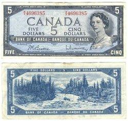 1954 - PORTRAIT MODIFIE -  5 DOLLARS 1954, BEATTIE/RASMINSKY (VF)
