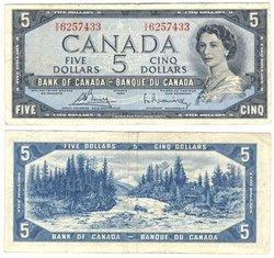1954 - PORTRAIT MODIFIE -  5 DOLLARS 1954, BOUEY/RASMINSKY (F)