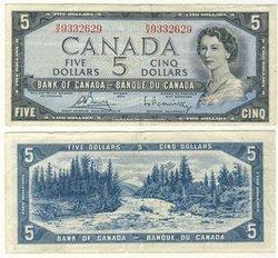 1954 - PORTRAIT MODIFIE -  5 DOLLARS 1954, BOUEY/RASMINSKY (VF)