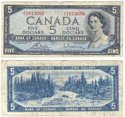 1954 - PORTRAIT MODIFIE -  5 DOLLARS 1954, BOUEY/RASMINSKY (VG)