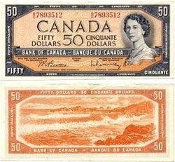1954 - PORTRAIT MODIFIE -  50 DOLLARS 1954, BEATTIE/RASMINSKY (EF)