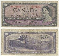 1954 - VISAGE DU DIABLE -  10 DOLLARS 1954, BEATTIE/COYNE (VG)