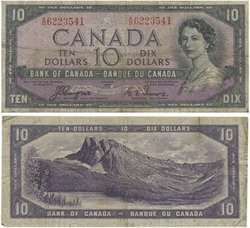 1954 - VISAGE DU DIABLE -  10 DOLLARS 1954, COYNE/TOWERS (VG)