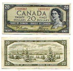 1954 - VISAGE DU DIABLE -  20 DOLLARS 1954, BEATTIE/COYNE (VF)