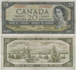 1954 - VISAGE DU DIABLE -  20 DOLLARS 1954, COYNE/TOWERS (VF)
