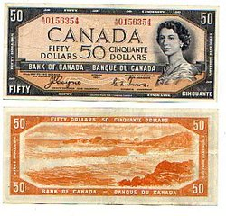 1954 - VISAGE DU DIABLE -  50 DOLLARS 1954, COYNE/TOWERS (EF)