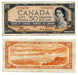 1954 - VISAGE DU DIABLE -  50 DOLLARS 1954, COYNE/TOWERS (VF)