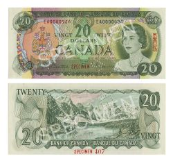 1969 -  20 DOLLARS 1969, BEATTIE/RASMINSKY (UNC) - BILLET SPÉCIMEN
