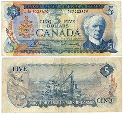 1972 -  5 DOLLARS 1972, BOUEY/RASMINSKY (F)