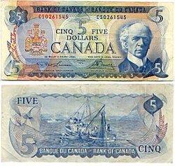 1972 -  5 DOLLARS 1972, LAWSON/BOUEY (EF)
