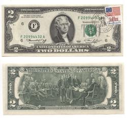 1976 -  2 DOLLARS 1976 AVEC TIMBRE ET SCEAU DU LAKE WORTH -  BILLETS DES ÉTATS-UNIS 1976
