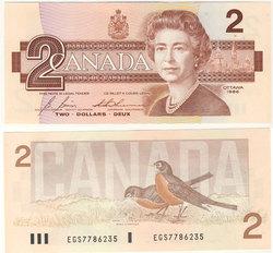 1986 -  2 DOLLARS 1986, BONIN/THIESSEN (UNC)