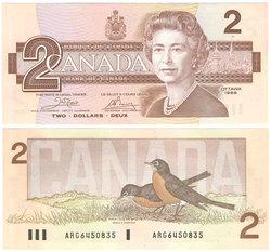 1986 -  2 DOLLARS 1986, CROW/BOUEY (CUNC)