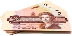 1986 -  2 DOLLARS 1986, EN LOT DE 100 BILLETS CIRCULÉS (AU-UNC)