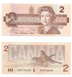 1986 -  2 DOLLARS 1986, THIESSEN/CROW (EF)