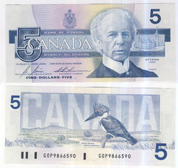 1986 -  5 DOLLARS 1986, BONIN/THIESSEN (CUNC)