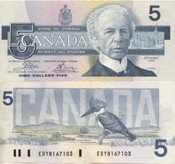 1986 -  5 DOLLARS 1986, CROW/BOUEY (VF)