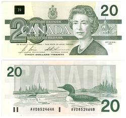 1991 -  20 DOLLARS 1991, BONIN/THIESSEN (UNC)