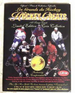 1996-97 HOCKEY -  LIVRE DE CLASSEMENT HOCKEY GREATS COINS AVEC PIÈCES