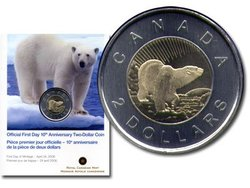 2 DOLLARS -  10EME ANNIVERSAIRE DU 2 DOLLARS - PIÈCE PREMIER JOUR OFFICIELLE -  PIÈCES DU CANADA 2006