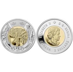 2 DOLLARS -  2 DOLLARS 2014 - ATTENDS-MOI PAPA - BRILLANT INCIRCULE (BU) -  PIÈCES DU CANADA 2014
