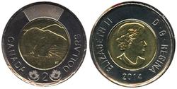 2 DOLLARS -  2 DOLLARS 2014 - BRILLANT INCIRCULE (BU) -  PIÈCES DU CANADA 2014