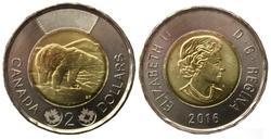 2 DOLLARS -  2 DOLLARS 2016 - BRILLANT INCIRCULE (BU) -  PIÈCES DU CANADA 2016
