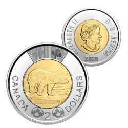 2 DOLLARS -  2 DOLLARS CLASSIQUE 2020 - BRILLANT INCIRCULE (BU) -  PIÈCES DU CANADA 2020