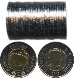 2 DOLLARS -  ROULEAU ORIGINAL DE 2 DOLLARS 2013 -  PIÈCES DU CANADA 2013