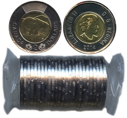 2 DOLLARS -  ROULEAU ORIGINAL DE 2 DOLLARS 2014 -  PIÈCES DU CANADA 2014