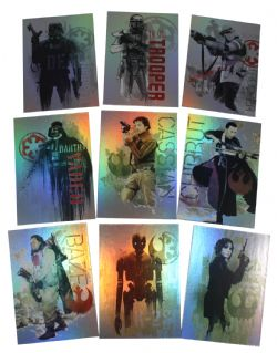 2016 STAR WARS -  TOPPS - ROGUE ONE: MILLION BRIEFING CHARACTER FOIL SET (9 CARTES)