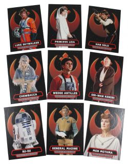2016 STAR WARS -  TOPPS - ROGUE ONE: MILLION BRIEFING HEROES OF THE REBEL ALLIANCE SET (9 CARTES)
