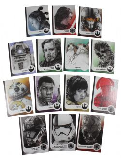 2017 STAR WARS -  TOPPS - JOURNEY TO THE LAST JEDI ILLUSTRATED CHARACTERS SET (14 CARTES)