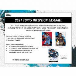 2021 BASEBALL -  TOPPS INCEPTION - HOBBY BOX