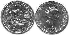 25 CENTS -  25 CENTS 1992 - COLOMBIE-BRITANNIQUE - BRILLANT INCIRCULE (BU) -  PIÈCES DU CANADA 1992 12