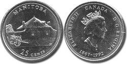 25 CENTS -  25 CENTS 1992 - MANITOBA - BRILLANT INCIRCULE (BU) -  PIÈCES DU CANADA 1992 04