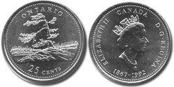 25 CENTS -  25 CENTS 1992 - ONTARIO - BRILLANT INCIRCULE (BU) -  PIÈCES DU CANADA 1992 08