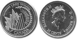 25 CENTS -  25 CENTS 1999 - DECEMBRE - BRILLANT INCIRCULE (BU) -  PIÈCES DU CANADA 1999 12