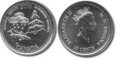 25 CENTS -  25 CENTS 2000 - PATRIMOINE NATUREL - BRILLANT INCIRCULE (BU) -  PIÈCES DU CANADA 2000 05