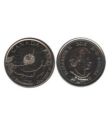 25 CENTS -  25 CENTS 2015 - AU CHAMP D'HONNEUR (COQUELICOT) - BRILLANT INCIRCULE (BU) -  PIÈCES DU CANADA 2015