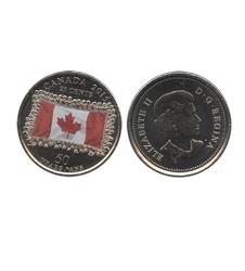 25 CENTS -  25 CENTS 2015 COLORÉ - DRAPEAU CANADIEN - BRILLANT INCIRCULÉ (BU) -  PIÈCES DU CANADA 2015