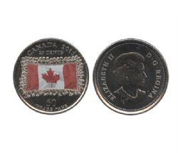 25 CENTS -  25 CENTS 2015 COLORÉ - DRAPEAU CANADIEN - COULEUR ESTOMPÉE (BU) -  PIÈCES DU CANADA 2015