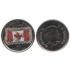 25 CENTS -  25 CENTS 2015 COLORÉ - DRAPEAU CANADIEN - COULEUR FONCÉE (BU) -  PIÈCES DU CANADA 2015