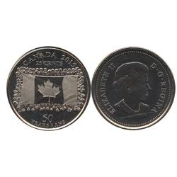 25 CENTS -  25 CENTS 2015 - DRAPEAU CANADIEN - BRILLANT INCIRCULÉ (BU) -  PIÈCES DU CANADA 2015